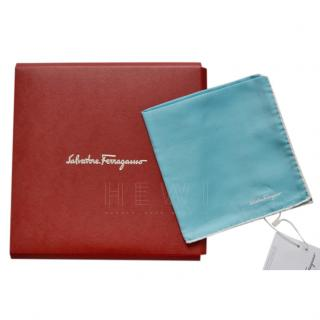 Salvatore Ferragamo Blue Silk Pocket Square