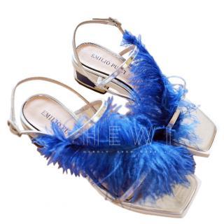 Emilio Pucci Feather Trim Metallic Leather Sandals