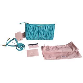 Miu Miu Turquoise Matelasse Mini Clutch/Crossbody Bag