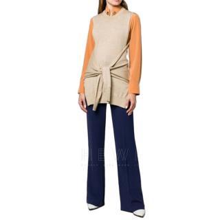 Chloe beige waist tie sleeveless knit top