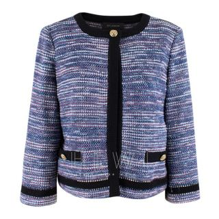 St.John blue flecked tweed jacket with black trim
