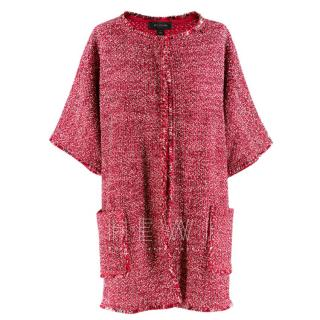 St.John red tweed unlined wool blend jacket