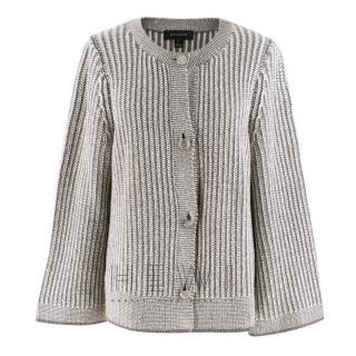 St.John White and Grey Wool-Blend Knit Cardigan
