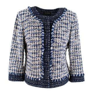 St.John Blue & White Tweed Fringed Trim Jacket