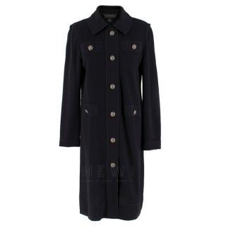 St.John Black Wool-Blend Knit Longline Coat