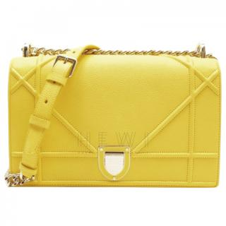 Christian Dior yellow grained leather Diorama bag