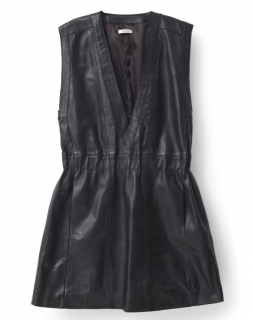 Ganni black leather sleeveless mini dress
