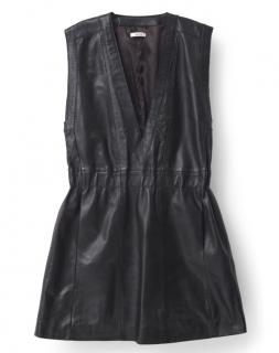 Ganni black leather sleeveless mini dress