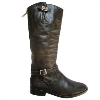 Golden Goose Deluxe Distressed black leather boots