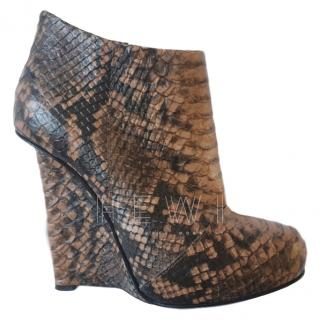 Giuseppe Zanotti Python Wedge Ankle Boots