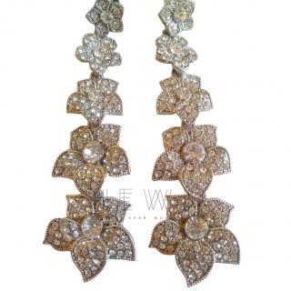 Bespoke Crystal Flower Drop Earrings