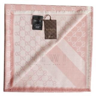 Gucci Pink Monogram Wool & Silk Scarf