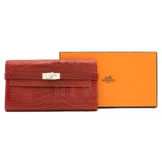 Hermes Alligator Mississippiensis Braise Kelly Classic Wallet