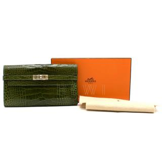 Hermes Alligator Mississippiensis Vert Veronese Kelly Classic Wallet