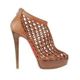 Christian Louboutin Tan Coussin Caged Booties