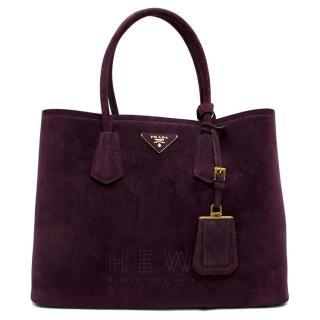 Prada Suede Medium Dark Purple Double-Pocket Tote Bag