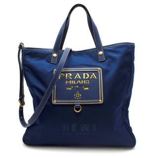 Prada electric blue nylon & leather tote bag