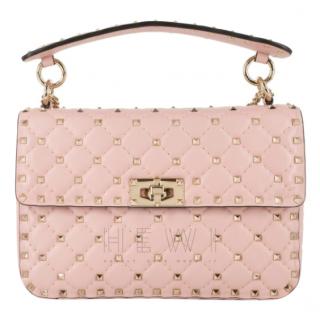 Valentino Garavani Baby Pink Medium Rockstud Spike Bag