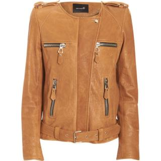 Isabel Marant Tan Crinkled-leather biker jacket