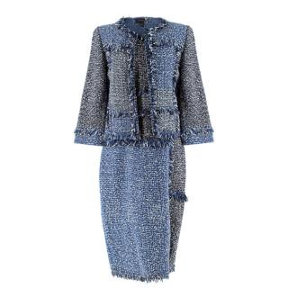 St.John Blue & White Tweed Dress & Jacket