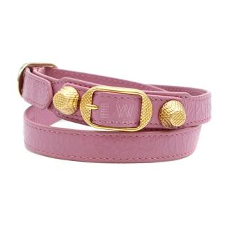 Balenciaga Giant Triple Tour Studded Leather Wrap Bracelet