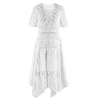Zimmermann White Broderie Asymmetric Midi Dress