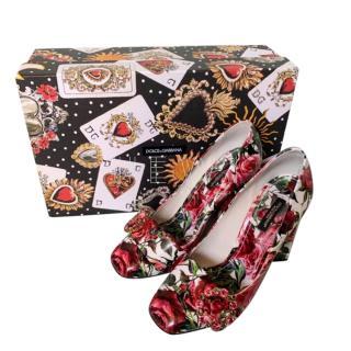 Dolce & Gabbana Square Heel Floral Print Crystal Embellished Pumps