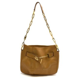 Gucci Chain Link Tan Leather Shoulder Bag