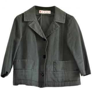 Marni Cotton & Linen Blend Boxy Jacket