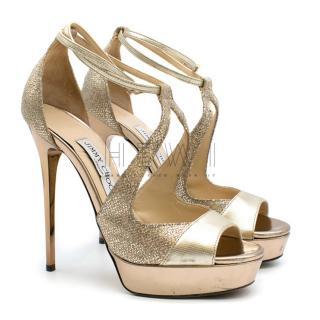 Jimmy Choo Lolita Gold Glitter Leather Platform Sandals
