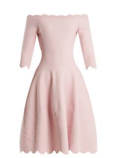 Alexander McQueen Floral Jacquard Knit Pink Scalloped Dress