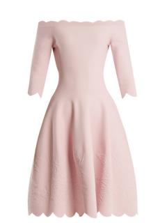 Alexander McQueen Floral Jacquard Knit Pink Scalloped Dress