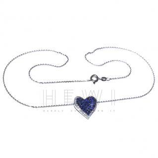 Bespoke Sapphire & Diamond Heart Pendant Necklace