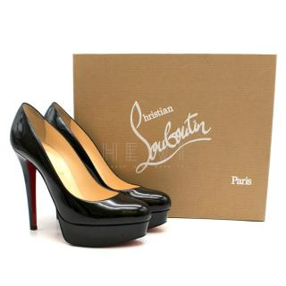 Christian Louboutin Bianca 140 Black Patent Leather Pumps