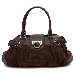 Salvatore Ferragamo Marisa Gancini Brown Suede & Leather Bag