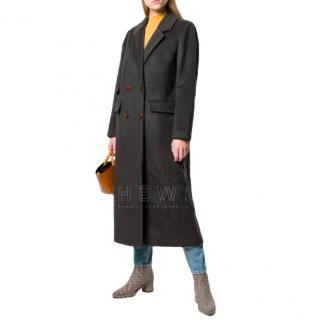 Ganni Dark-Grey Double-Breasted Long Wool Coat