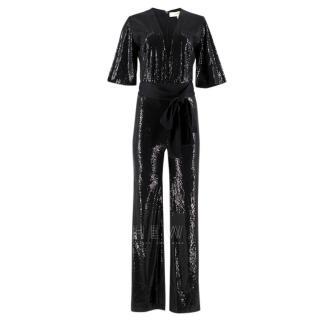 Galvan London Black Sequined Waist-Tie Jumpsuit