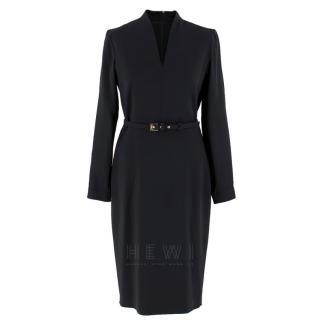 Max Mara Black Wool-Blend Belted Dress
