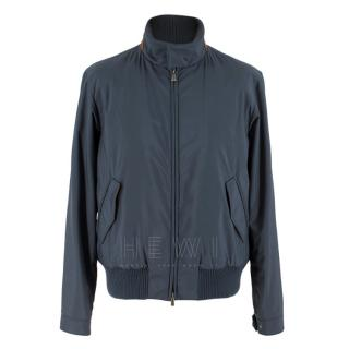 Loro Piana Blue Bomber Jacket with Mink Lining & Goat Suede Trim