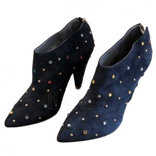 Mulberry Navy Multi-Colour Studded Ankle Boots