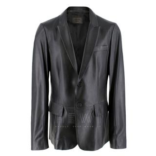 Prada black single-breasted 100% lamb skin Jacket