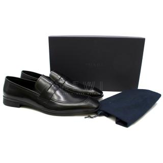 Prada Black Leather Men's Classic Loafers