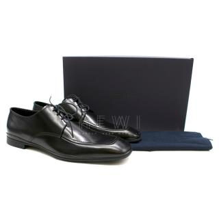 Prada Black Leather Derby Lace-Up Shoes