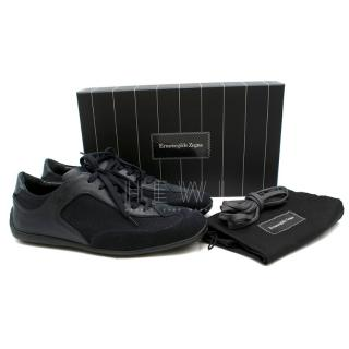 Ermenegildo Zegna navy suede, canvas & leather sneakers