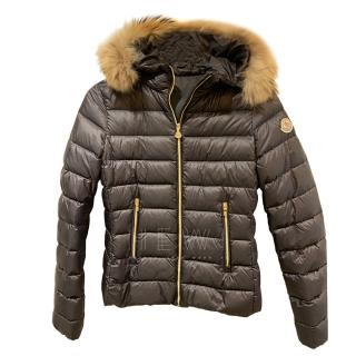 Moncler Kid's Black Puffer Jacket W/ Fox Fur Trim
