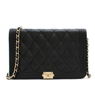 Chanel Black Quilted Lambskin Boy Wallet On Chain