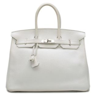Hermes White Clemence Leather 35cm Birkin Bag
