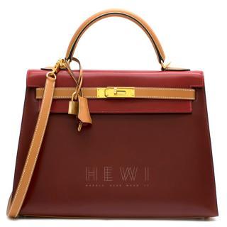 Hermes Vintage Kelly Sellier 28 Tri-Colour Box Leather Bag