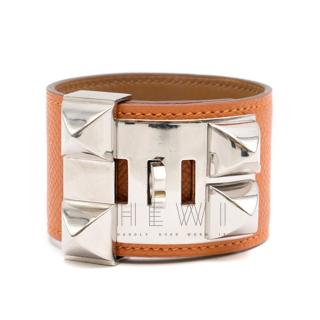 Hermes Orange Swift Collier de Chien CDC Bracelet