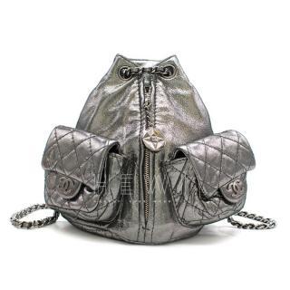 Chanel Mini Silver Split-Zip Backpack